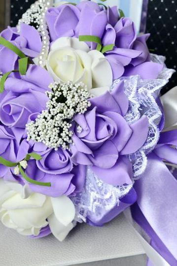 New Arrival Wedding Bouquet Handmade Flowers Light Purple Rose Bridal Bouquet Wedding bouquets