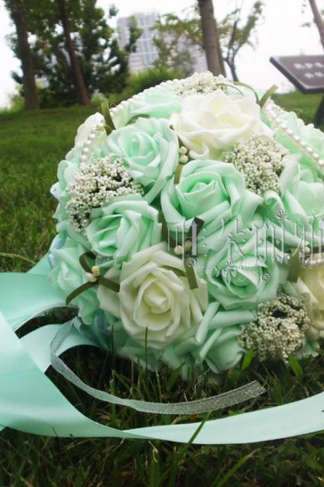 New Arrival Wedding Bouquet Handmade Flowers Mint and Ivory Rose Bridal Bouquet Wedding bouquets