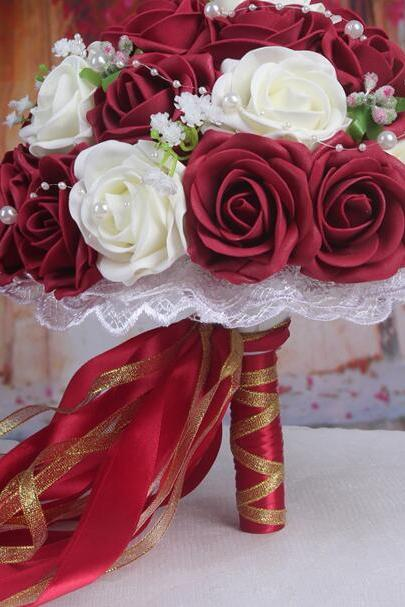 New Arrival Wedding Bouquet Handmade Flowers Burgundy Red Wine Rose Bridal Bouquet Wedding bouquets