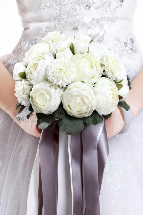 New Arrival Wedding Bouquet Handmade Flowers Ivory Peony Bridal Bouquet Wedding bouquets
