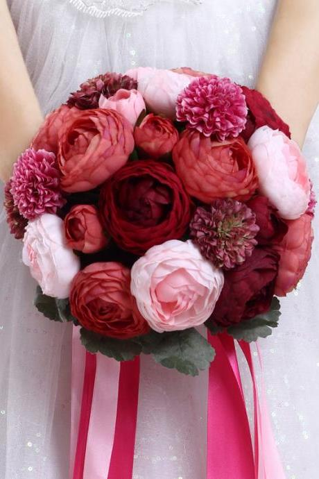 New Arrival Wedding Bouquet Handmade Flowers Burgundy Red Wine Bridal Bouquet Wedding bouquets