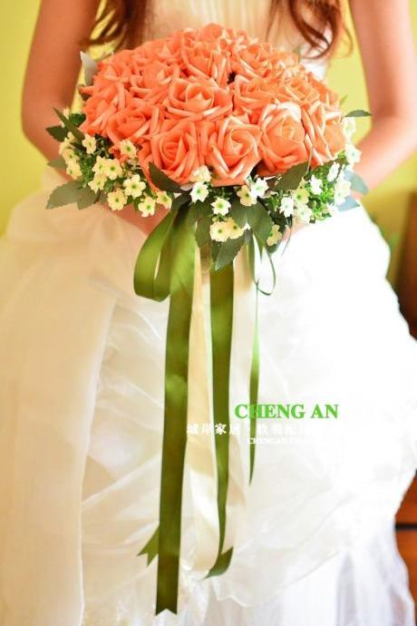 New Arrival Wedding Bouquet Handmade Flowers Light Orange Bridal Bouquet Wedding bouquets