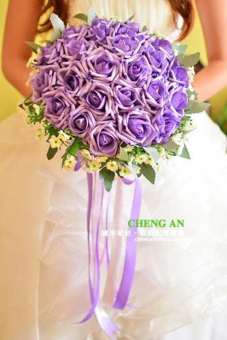 New Arrival Wedding Bouquet Handmade Flowers Purple Rose Bridal Bouquet Wedding bouquets