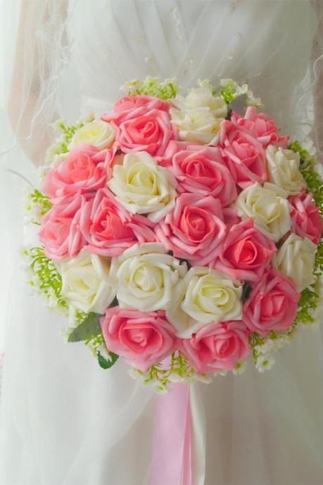 2017 Pink and Ivory Rose New Arrive Handmade Flowers Wedding Bouquets Rose Bridal Bridesmaid Bouquets Wedding Flowers