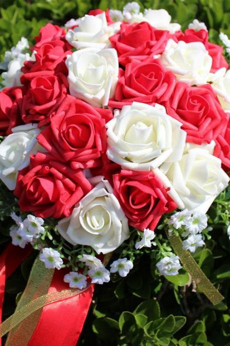 New Arrival Wedding Bouquet Handmade Flowers Red and White Rose Bridal Bouquet Wedding bouquets
