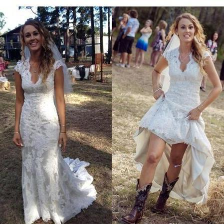 2018 Vintage Country Wedding Dresses V Neck Cap Sleeves Floor Length Lace Wedding Dresses Cowgirls High Low Backless Bridal Wedding Gowns