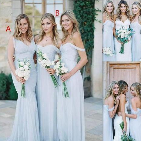 Beach Bridesmaid Dresses Ice Blue Chiffon Ruched Off The Shoulder Summer Wedding Party Gowns Long Cheap Simple Dress For Girls