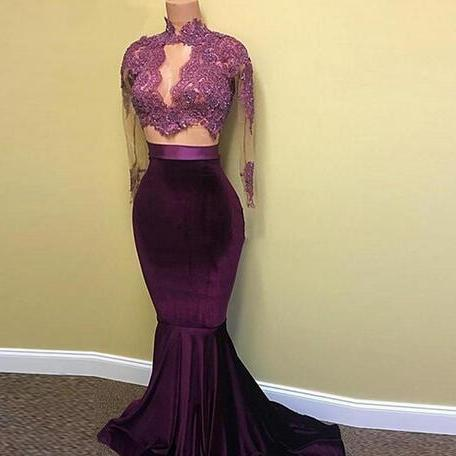 Real Picture Two Pieces Prom Dresses 2018 Sheer See Through High Neck Long Sleeve Velvet Long Lace Burgundy African Prom Dress