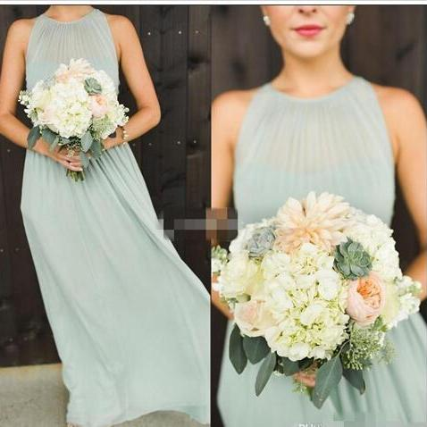 aed4a1d93ea ... Elegant Sage Green Chiffon Ruffles Long Bridesmaid Dresses Floor Length  Open Back Boho Country Wedding Party NEW Cheap ...