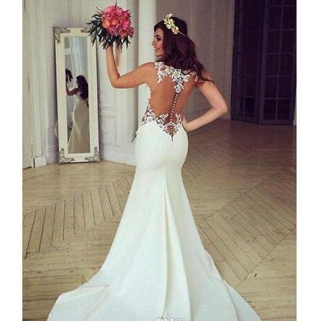 Gergous Sleeveless Mermaid Wedding Dresses Woman Sheer Jewel Neck Cutaway Sides Lace Applique Bridal Gowns With Long Train