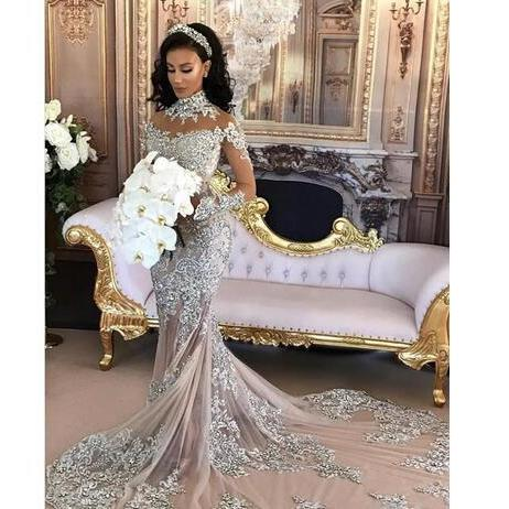 Luxury Sparkly 2018 Wedding Dress Sexy Sheer Bling Beaded Lace Applique High Neck Illusion Long Sleeve Champagne Mermaid Chapel Bridal Gowns