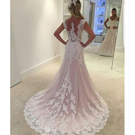 wedding gowns 2018 lace wedding dress mermaid with sheer tulle back