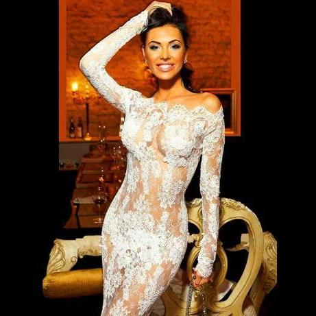 Robe De Soiree 2018 New Arrival Sexy See Through Prom Dresses White Long Sleeve Lace Evening Prom Gowns Long Vestido De Festa Longo