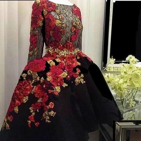 Charming Black Embroidery Lace Long Sleeve Prom Dresses 2018 Applique Satin Hi Lo Sheer See Through Custom Made Evening Dress