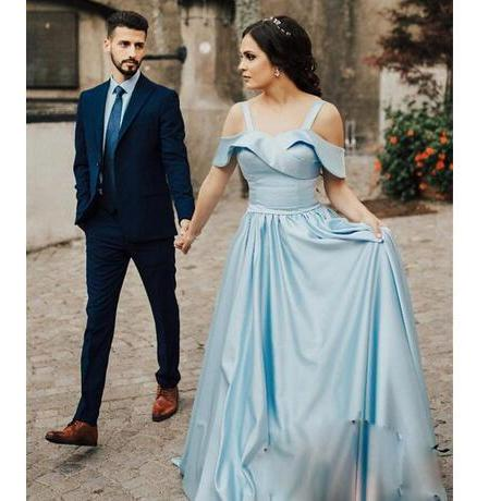 2018 Light Blue Satin Prom Dresses Long Off The Shoulder Maid Of Honor Dresses Evening Wear Pleats floor length cheap cocktail party Gowns