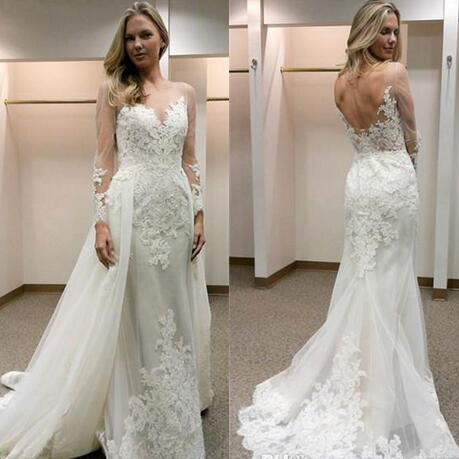 Latest Long Sleeves Lace Mermaid Wedding Dresses Sexy Back Appliques Bridal Dresses Custom Made Fashion Wedding Gowns