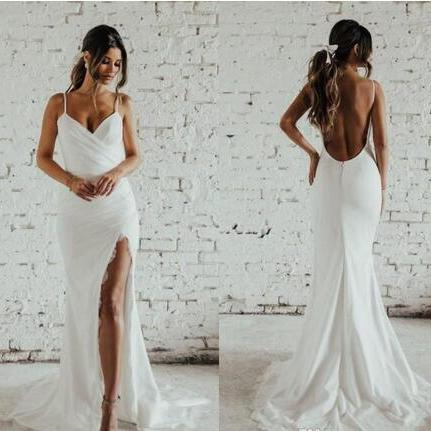 Sexy Mermaid May Beach Wedding Dresses 2018 Full Lace Spaghetti Backless Holiday Garden Slit Bridal Gowns Cheap