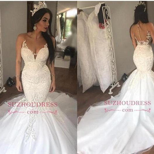 2018 New Sheer Neck Mermaid Wedding Dresses Lace Appliqued Illusion Covered Button Back Court Train Bridal Gowns Custom Made BA9349