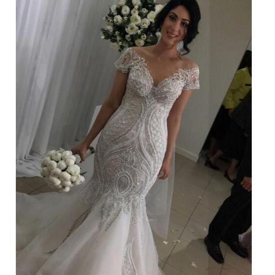 Lace V Neck New Coming Mermaid Plus Size Wedding Dresses Sweep Train Beads Custom Made Beaching Wedding Gowns