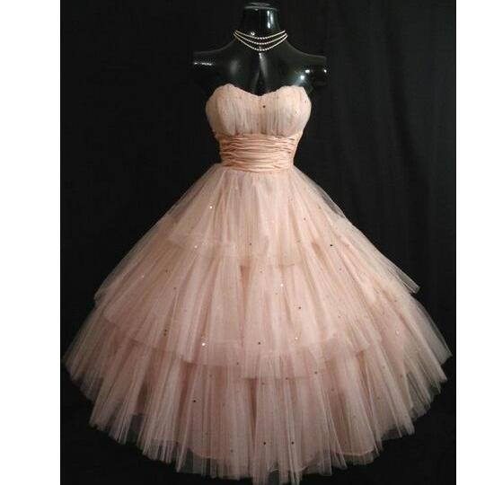 Vintage 50's Shell Pink Prom Dresses Strapless Layered Tulle Sequins Tea Length Short Homecoming Dress Ball Gown Wedding Party Gowns