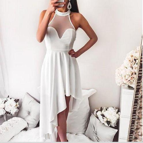 New Arrival Cheap Halter High Low Backless White Homecoming Dress Prom Dress Chiffon Cocktail Party Dress