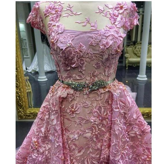 Detachable Train Prom Dress 2019 Luxury Pink Mermaid Lace Appliqued Formal Evening Gowns Short Sleeve Jewel Neckline Party Dress