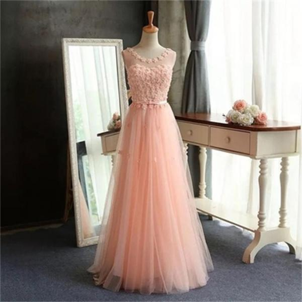 Scoop prom dresses,Tulle Prom Dress,Pretty Prom Dress,Popular Prom Dress,A-Line Evening Dress ,Custom pink Dresses,long prom dress