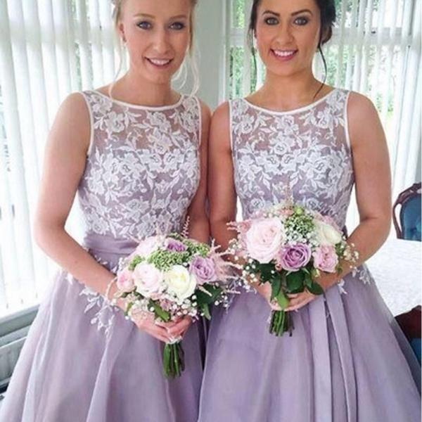 2016 Most Popular Junior Pretty Organza Bateau Off Shoulder Lace Short Bridesmaid Dresses