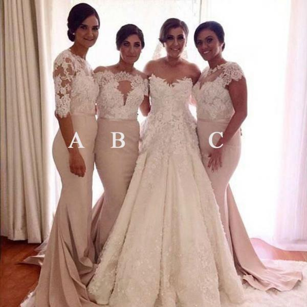 Affordable Mismatched Lace Mermaid Long Wedding Bridesmaid Dresses