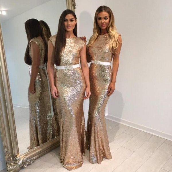 Custom Made Silver Shimmery Sequin Cap Sleeve Long Evening Dress, Bridesmaid Dress, Prom Dresses, Cocktail Dress, Weddings