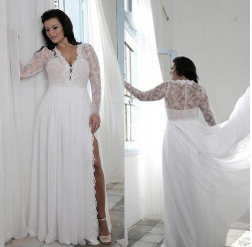 Plus Size Wedding Dresses With Split Sheath Plunging V Neck Illusion Lace Long  Sleeves Bridal Gowns on Luulla 0093a08f6