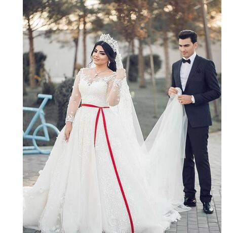 Middle East Plus Size Wedding Dresses Scoop A Line Long Sleeves Full Lace Lique Gorgeous Bridal Gowns For Church