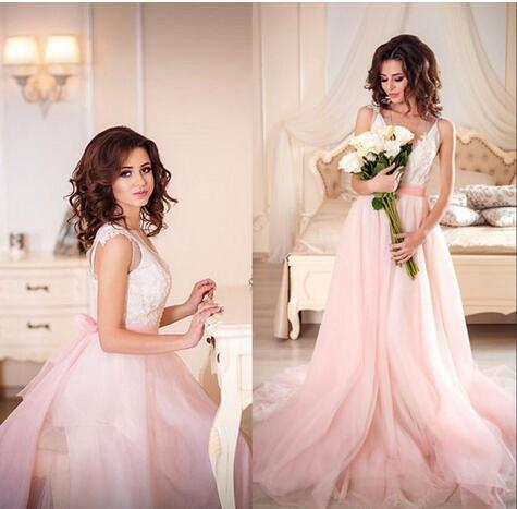Cheap Country Style Tiered Pink Wedding Dresses Lace Top Tulle V ...